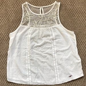 Hollister Tank Top White Gold Floral XS